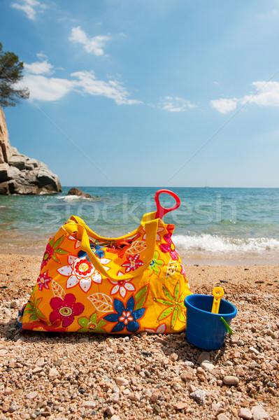 Stockfoto: Zee · kleurrijk · bloemen · strand · landschap