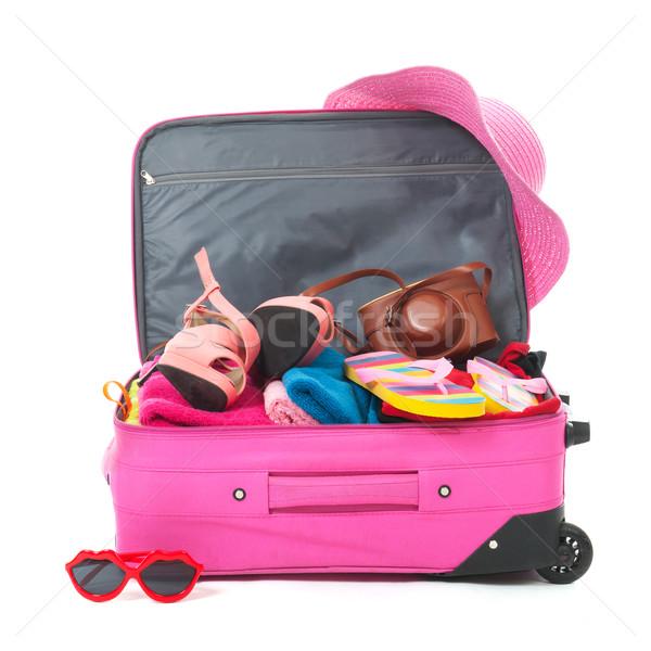 ストックフォト: スーツケース · ピンク · 夏休み · 背景 · 夏