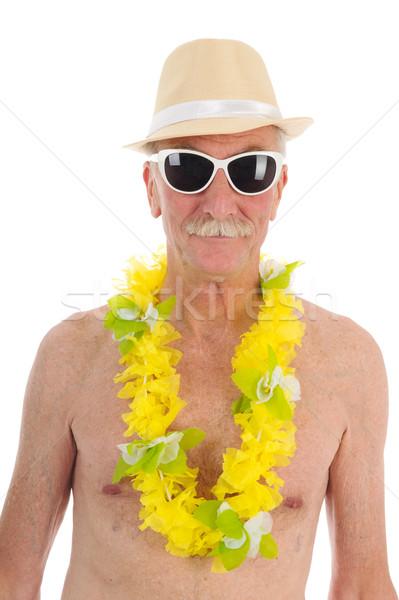 Pensione uomo spiaggia ritratto isolato bianco Foto d'archivio © ivonnewierink