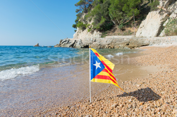 Catalan flag at beach Stock photo © ivonnewierink