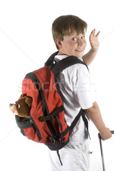 Fiú közmondás viszlát gyermek utazás hullám Stock fotó © ivonnewierink