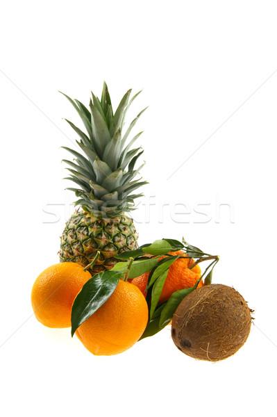 Fruta tropical natureza morta isolado branco fruto ananás Foto stock © ivonnewierink