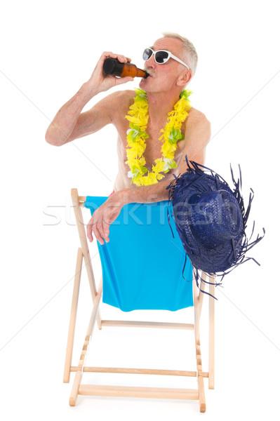 Gepensioneerd man drinken bier vakantie vergadering Stockfoto © ivonnewierink