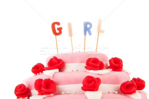 Baba született torta gyertyák rózsaszín izolált Stock fotó © ivonnewierink