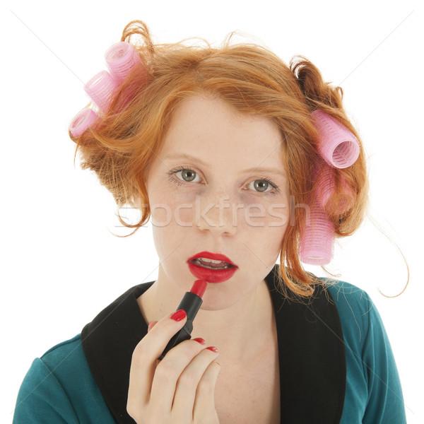 Stock fotó: Nő · smink · fiatal · nő · rúzs · izolált · stúdió
