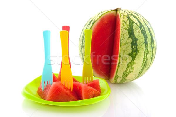 Preparado melão inteiro prato água comida Foto stock © ivonnewierink
