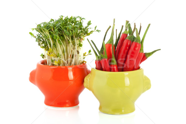 Colorful bowls with cress and red pepper Stock photo © ivonnewierink