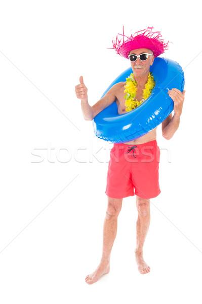 Emeryturę człowiek wakacje zabawki odizolowany biały Zdjęcia stock © ivonnewierink