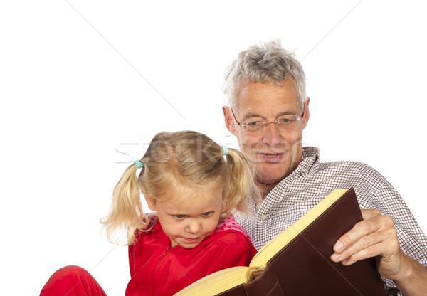Avô ler neto leitura isolado branco Foto stock © ivonnewierink