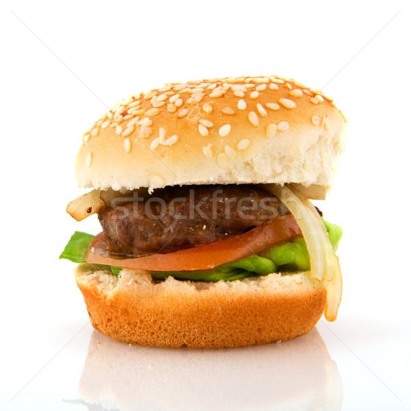 Hamburguesa pan aislado blanco carne Foto stock © ivonnewierink