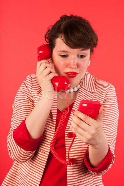 Una buena noticia auricular negocios mujer Foto stock © ivonnewierink