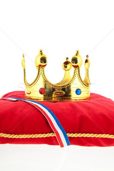 Gouden kroon fluwelen kussen nederlands vlag Stockfoto © ivonnewierink