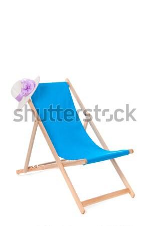 Niebieski leżak lata hat podróży krzesło Zdjęcia stock © ivonnewierink