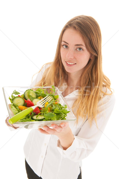 Woman with fresh salad for diet Stock photo © ivonnewierink