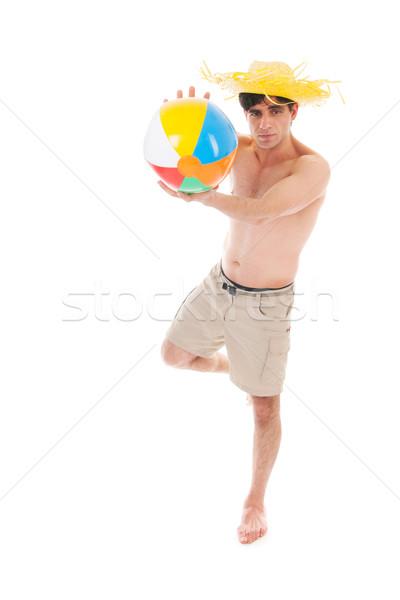 Praia menino bola homem muitos músculos Foto stock © ivonnewierink
