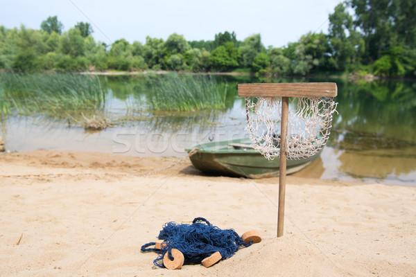 Vissen rivier visnet boot zomer Blauw Stockfoto © ivonnewierink