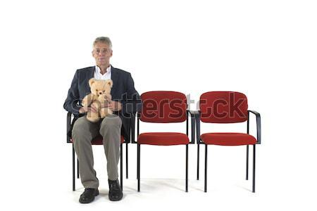 男 待合室 座って 孤立した 白 眼鏡 ストックフォト © ivonnewierink