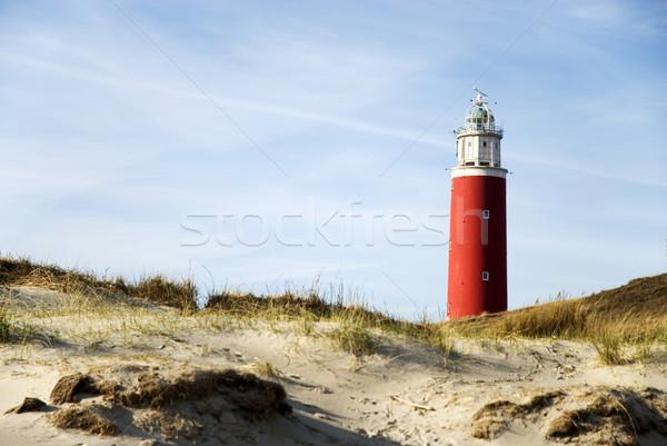 Vuurtoren Rood klassiek strand gebouw landschap Stockfoto © ivonnewierink