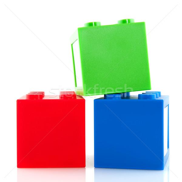 Színes kockák építőkockák piros zöld kék Stock fotó © ivonnewierink