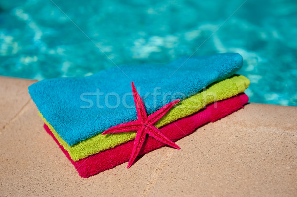 Towels at the swimmingpool Stock photo © ivonnewierink