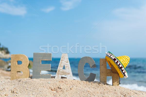 Espanhol praia paisagem sombrero água viajar Foto stock © ivonnewierink