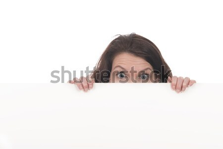 Genç kadın beyaz tahta Filmi genç korkutucu kadın Stok fotoğraf © ivonnewierink
