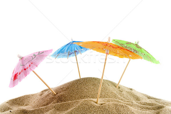 cheerful parasols on the beach Stock photo © ivonnewierink