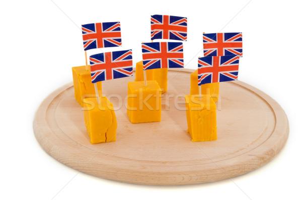 Cheddar sajt zászlók tányér Stock fotó © ivonnewierink