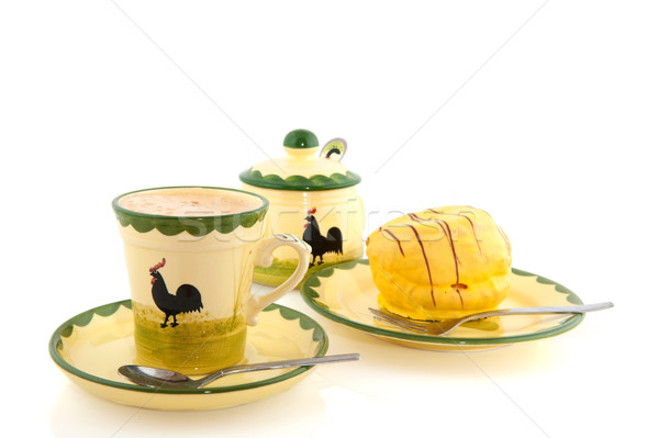 Cup of coffee with yellow cakes Stock photo © ivonnewierink