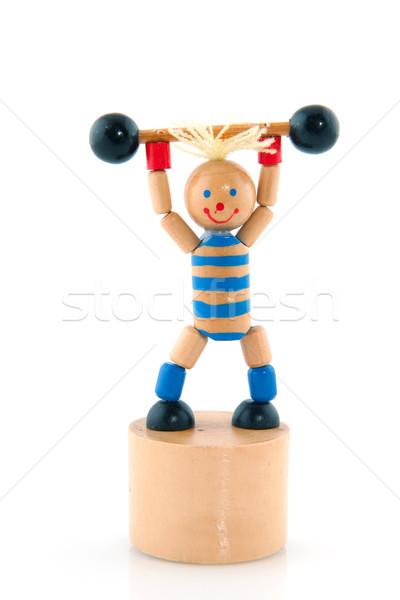 Gewichtheffen pop geïsoleerd witte sport speelgoed Stockfoto © ivonnewierink