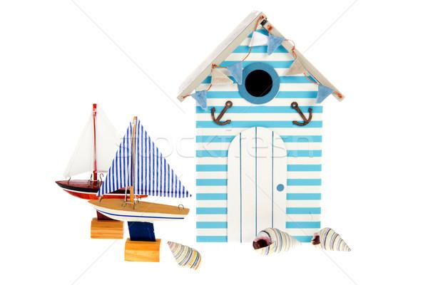 Plaj kulübe yelkencilik tekneler yaz kabukları ev Stok fotoğraf © ivonnewierink