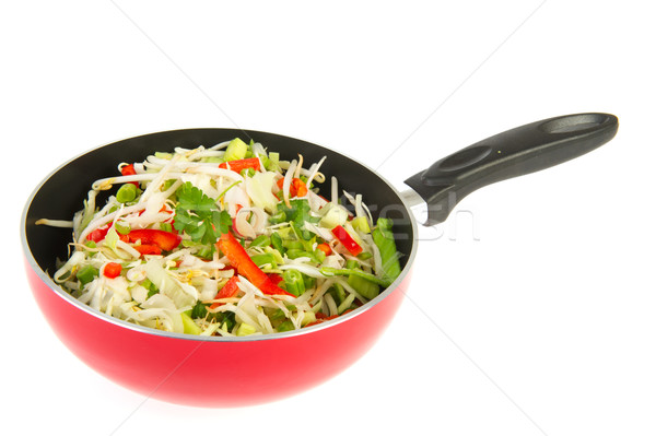 frying wok pan with vegetables Stock photo © ivonnewierink