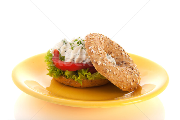 Bagel with cream cheese and herbs Stock photo © ivonnewierink