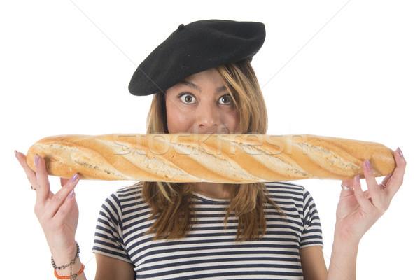 французский типичный хлеб молодые девушки Сток-фото © ivonnewierink