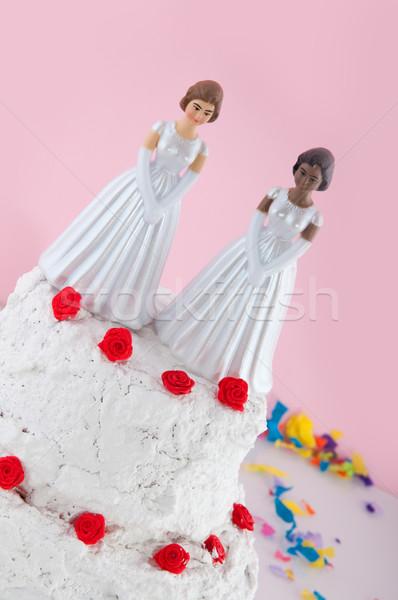 Lesbische bruiloft paar top cake vrouw Stockfoto © ivonnewierink