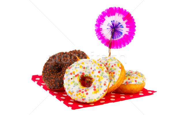 Birthday donuts with colorful glaze Stock photo © ivonnewierink
