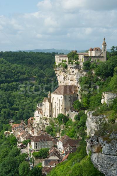 Bedevaart dorp frans stad kerk bergen Stockfoto © ivonnewierink