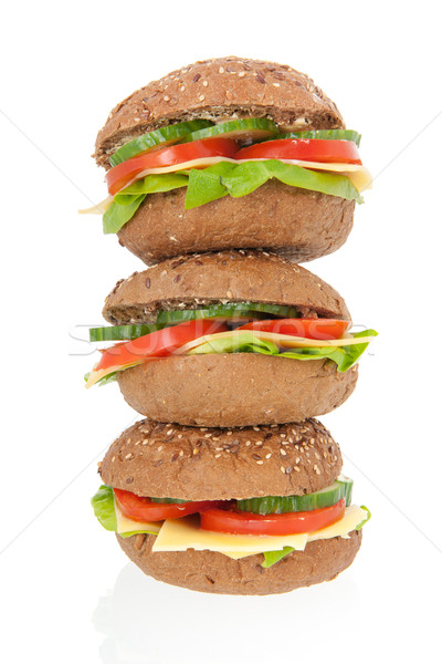Stacked healthy brown bread roll with cheese Stock photo © ivonnewierink