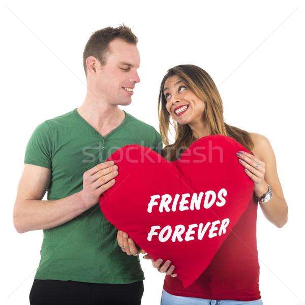 Liefde paar vrienden voor altijd man vrouw Stockfoto © ivonnewierink