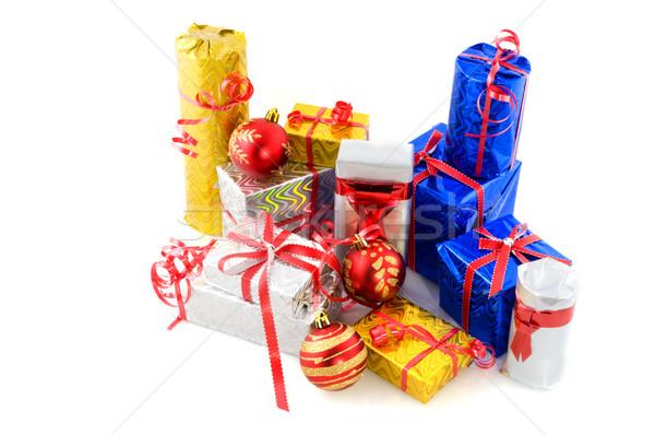 Muitos natal presentes luxo relance papel Foto stock © ivonnewierink