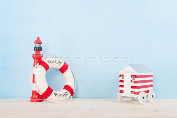 Foto d'archivio: Spiaggia · faro · rosso · benvenuto · bordo · costruzione