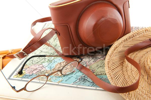 Photo stock: Voyage · autour · carte · du · monde · verres · caméra