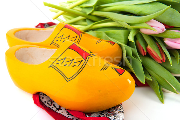 Dutch wooden clogs with tulips Stock photo © ivonnewierink