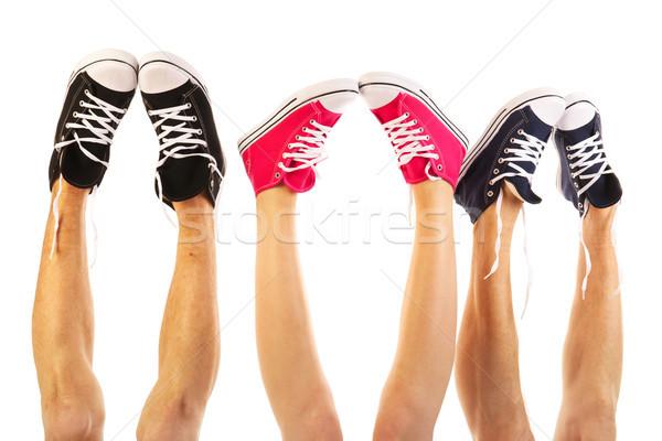 Sommer Beine Basketball Schuhe isoliert weiß Stock foto © ivonnewierink
