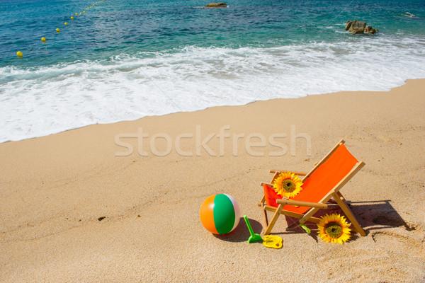 Boş şezlong çiçekler oyuncaklar deniz plaj Stok fotoğraf © ivonnewierink