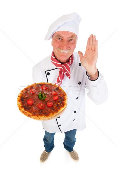 Stok fotoğraf: İtalyan · pişirmek · pizza · lezzetli · gıda