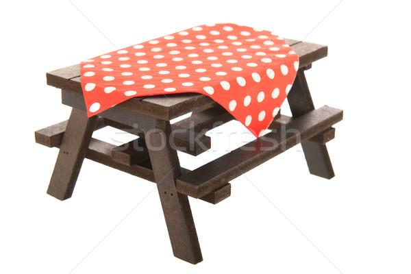 Houten picknicktafel eten outdoor achtergrond zomer Stockfoto © ivonnewierink
