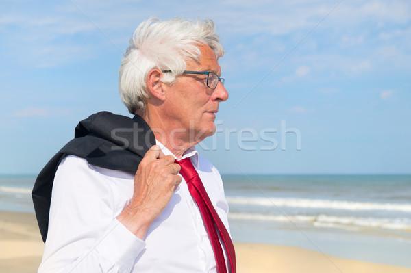 Stock fotó: üzletember · tengerpart · hivatalos · öltöny · sétál · üzlet
