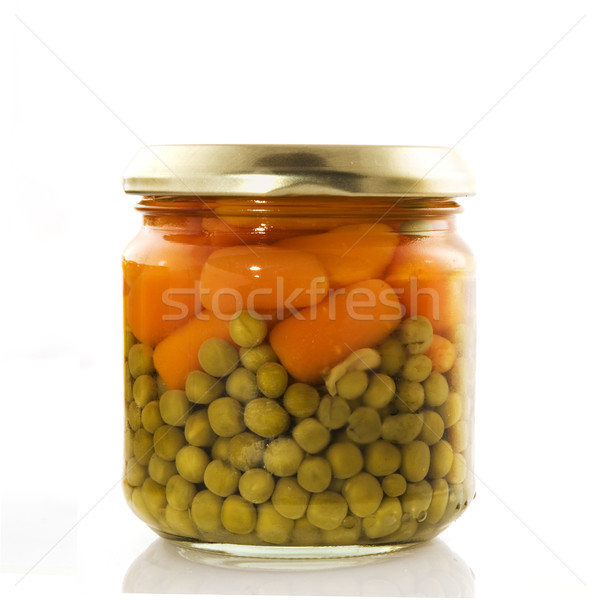 canned carrots and peas Stock photo © ivonnewierink