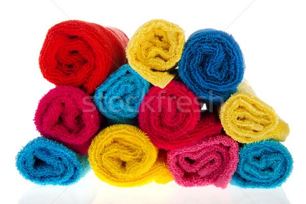 Ręczniki wiele kolorowy biały niebieski Zdjęcia stock © ivonnewierink